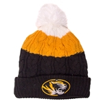 Mizzou Women's White, Gold & Black Colorblock Cuffed Beanie with Pom