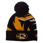 Mizzou Oversized Tiger Head Black & Gold Cuffed Beanie with Pom