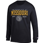University of Missouri Champion Official Seal Black Crew Neck Shirt