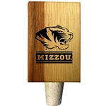 Mizzou Etched Tiger Head Wooden Bottle Stopper