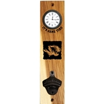 Mizzou Etched Tiger Head Wooden Wall Mount Clock & Bottle Opener