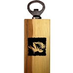 Mizzou Etched Tiger Head Wooden Bottle Opener