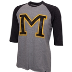 Mizzou Block M Black & Grey Raglan 3/4 Sleeve Shirt
