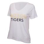 Mizzou Tigers Juniors' White V-Neck T-Shirt