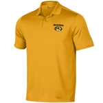 Mizzou Oval Tiger Head Under Armour Gold Polo