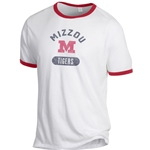 Mizzou Tigers Block M Red White and Blue Ringer T-Shirt