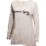 Mizzou Tigers Women's Tiger Head Off White Strappy Scoop Neck Shirt