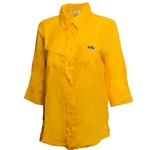 Mizzou Tiger Head Women's Gold Button Down Dress Shirt