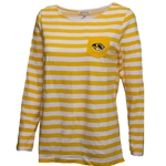 Mizzou Tiger Head Women's Gold and White Striped Crew Neck Shirt