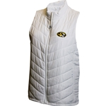 Mizzou Oval Tiger Head Women's White Puffer Vest
