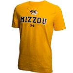 Mizzou Tiger Head Under Armour Gold T- Shirt