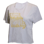 Missouri Landscape State Outline White Crop T-Shirt