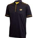 Mizzou Oval Tiger Head Gold Trim and Black Polo