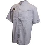 Mizzou Tiger Head Button Down Light Grey Fishing Shirt