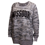 Missouri Junior's Grey Camoflauge Crew Neck Shirt