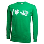 Mizzou I Shamrock Tiger Head Kelly Green Crew Neck Shirt