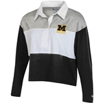 Mizzou M Junior's Champion Rugby Style Black and Grey Crop Shirt