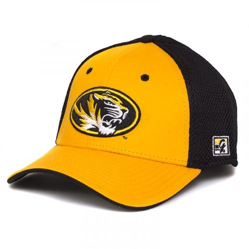 Mizzou Oval Tiger Head Black & Gold Stretch-Fit Hat