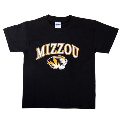 Mizzou Kids' Tiger Head Black Crew Neck T-Shirt