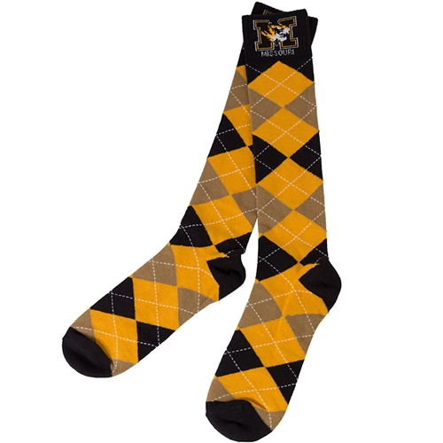 Mizzou Argyle Black & Gold Socks