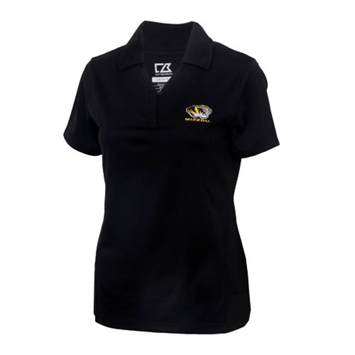 Mizzou Cutter & Buck Women's Tiger Head Drytec Black Polo