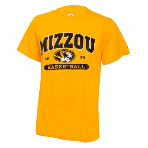 Mizzou Basketball Oval Tiger Head Gold Crew Neck T-Shirt