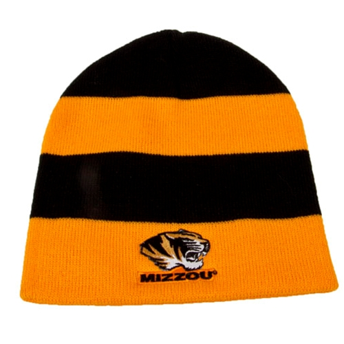 Mizzou Tiger Head Black & Gold Stripe Rugby Beanie
