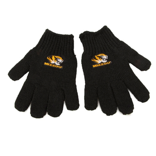 Mizzou Kids' Tiger Head Black Knit Gloves