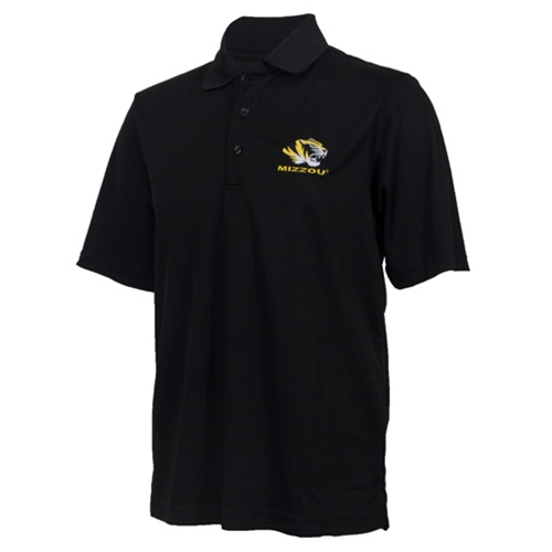 Mizzou Tiger Head Black Polo