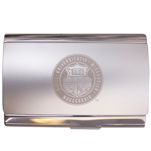 mizzou official seal silver business card holder - Silver Business Card Holder