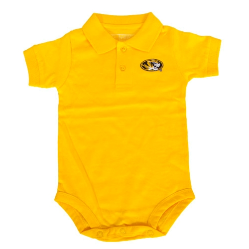 Mizzou Infant Oval Tiger Head Gold Polo Onesie