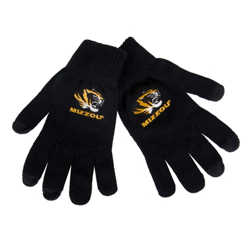 Mizzou Tiger Head UText Black Knit Gloves