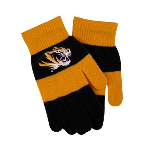 Mizzou Oval Tiger Head Black & Gold Rugby Striped Gloves