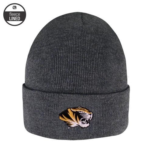 Mizzou Oval Tiger Head Cuffed Fleece Lined Grey Beanie