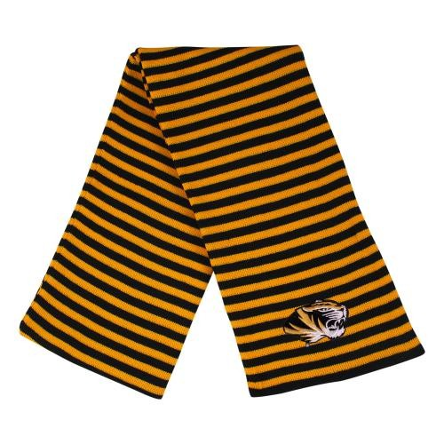 Mizzou Tiger Head Black & Gold Knit Scarf