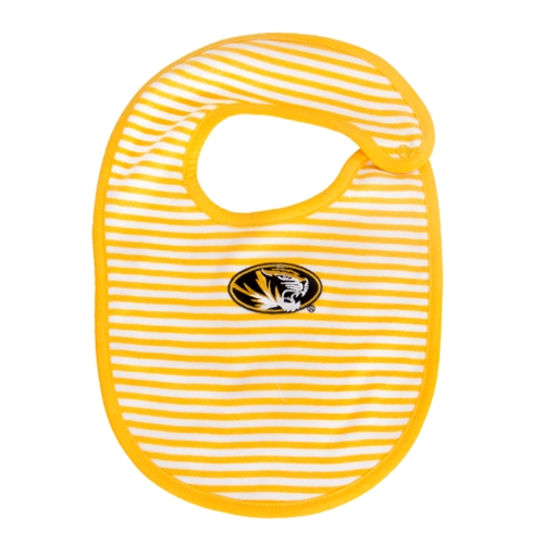 Mizzou Oval Tiger Head Gold Striped Bib
