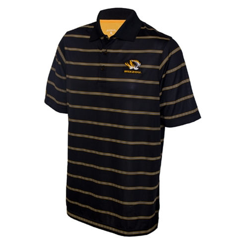 Mizzou Antigua Tiger Head Black & Gold Striped Polo