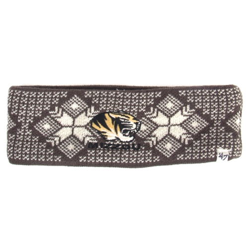 Mizzou Women's Tiger Head Sherpa Lined Charcoal Headband
