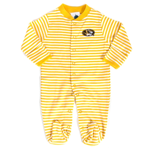Mizzou Infant Oval Tiger Head Gold & White Striped Romper
