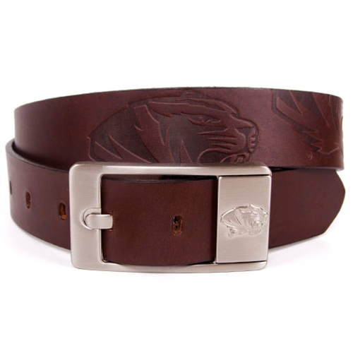 Mizzou Embossed Tiger Head Brown Leather Belt