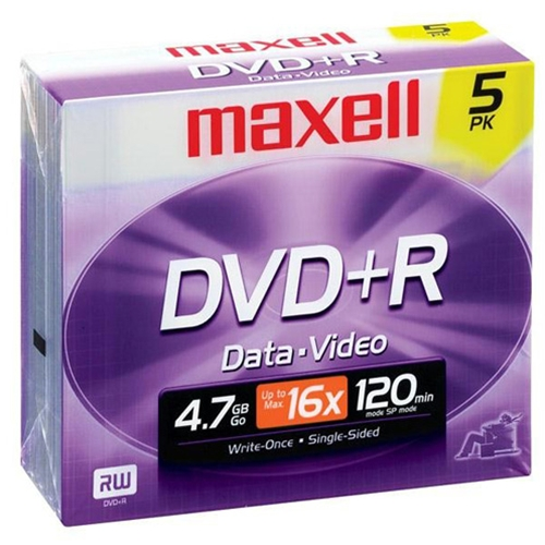 Maxell 16x 4.7GB DVD-R 5-Pack in Jewel Cases