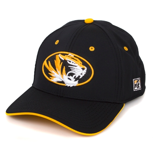 Mizzou Oval Tiger Head Black Stretch-Fit Hat