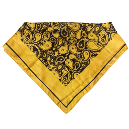 Mizzou Official Paisley Black Background Square Silk Scarf