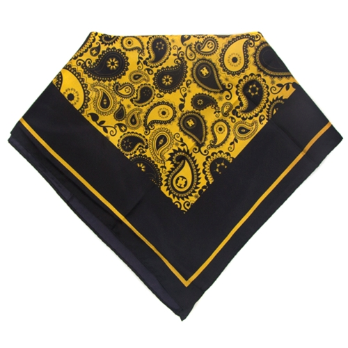 Mizzou Official Paisley Gold Background Square Silk Scarf
