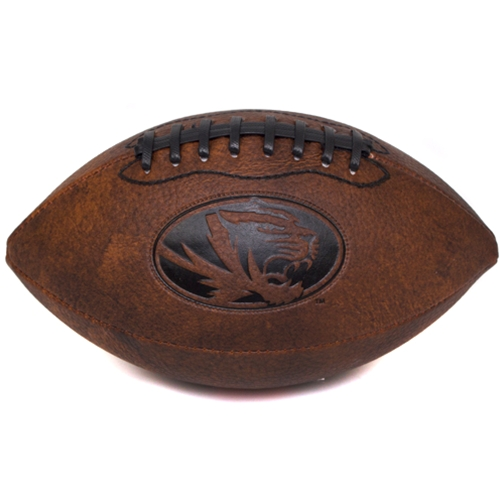 Mizzou Oval Tiger Head Mini Leather Football