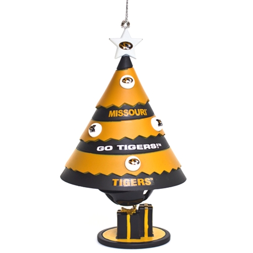 Missouri Tigers Black & Gold Porcelain Bell Tree Ornament
