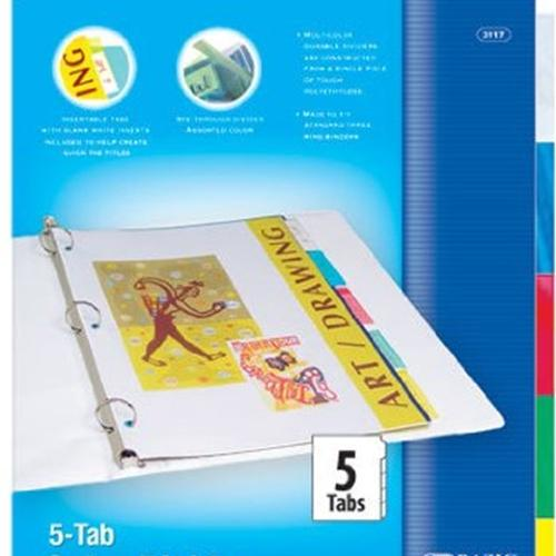 3-Ring Binder Dividers with 5 Insertable Color Tabs