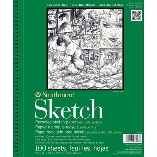 "Strathmore Artist Papers 5.5"" x 8.5"" 60 lb. 400 Series Recycled Sketch 100 Sheet Spiral Bound Pad"