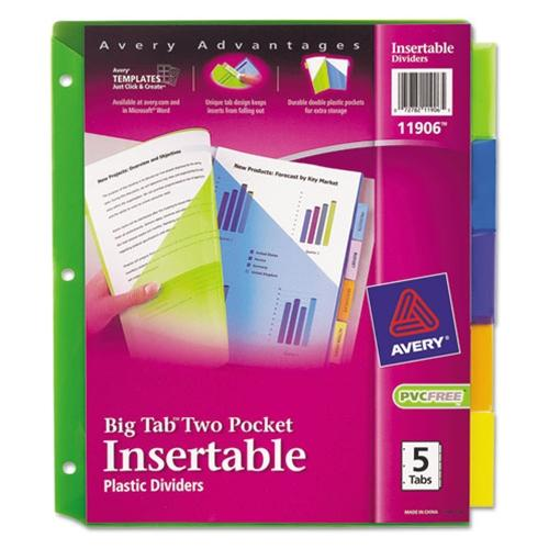 Avery Insertable Big Tab Plastic Dividers with Double Pockets