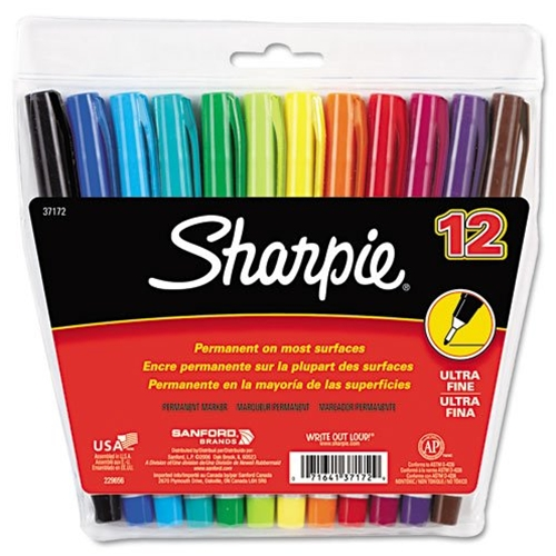 12 Pack Assorted Colors Ultra Fine Point Sharpie Premanant Markers